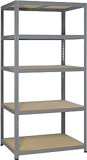 Resistente 265 Metal y madera estantería resistente Clip con 5 estantes 180 x 90 x 60 cm/galvanizado