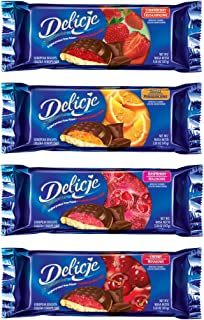 Delicje Variety Pack European Biscuits Strawberry, Orange, Raspberry, Cherry Filling