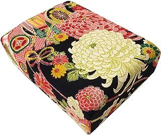 CHIRIMEN Kimono Pattern Box. Made of Japanese WASHI Paper and Japanese Traditional Fabric CHIRIMEN. (Black)