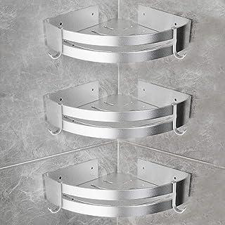 Yorbay Estantería de Esquina para Baño Ducha, Autoadhesivo, Aluminio, Acabado Mate, Estante triangular de baño,Estantes 3 Piezas Plata,Instalación sin taladro, sin daños reutilizable