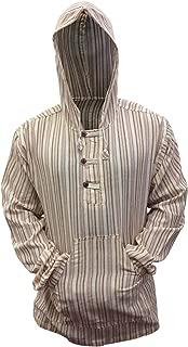 Shopoholic Fashion Mens Striped Hooded Grandad Shirt