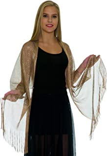 Shawls and Wraps for Evening Dresses - Womens Scarves for Prom, Wedding, Bridal, Party - Scarfs for Women with Fringe Petal Rose - Metallic Gold Scarf