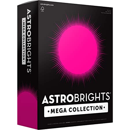 """Astrobrights Mega Collection Colored Paper, 8 ½ x 11, 24 lb/89 gsm, Ultra Pink, 625 Ct. (91674)""""Amazon Exclusive"""" - More Sheets!"""