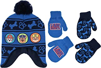 Nickelodeon Little Boys Paw Patrol Character Hat and 2 Pairs of Mittens or Gloves Cold Weather Set, Age 2-7
