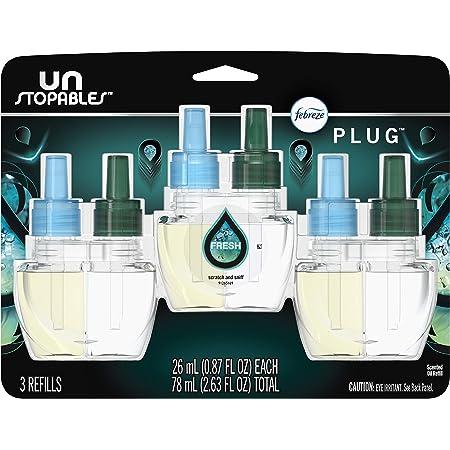 Febreze Plug in Air Fresheners, Unstopables Fresh, Odor Eliminator, Scented Oil Refill, 3 Count