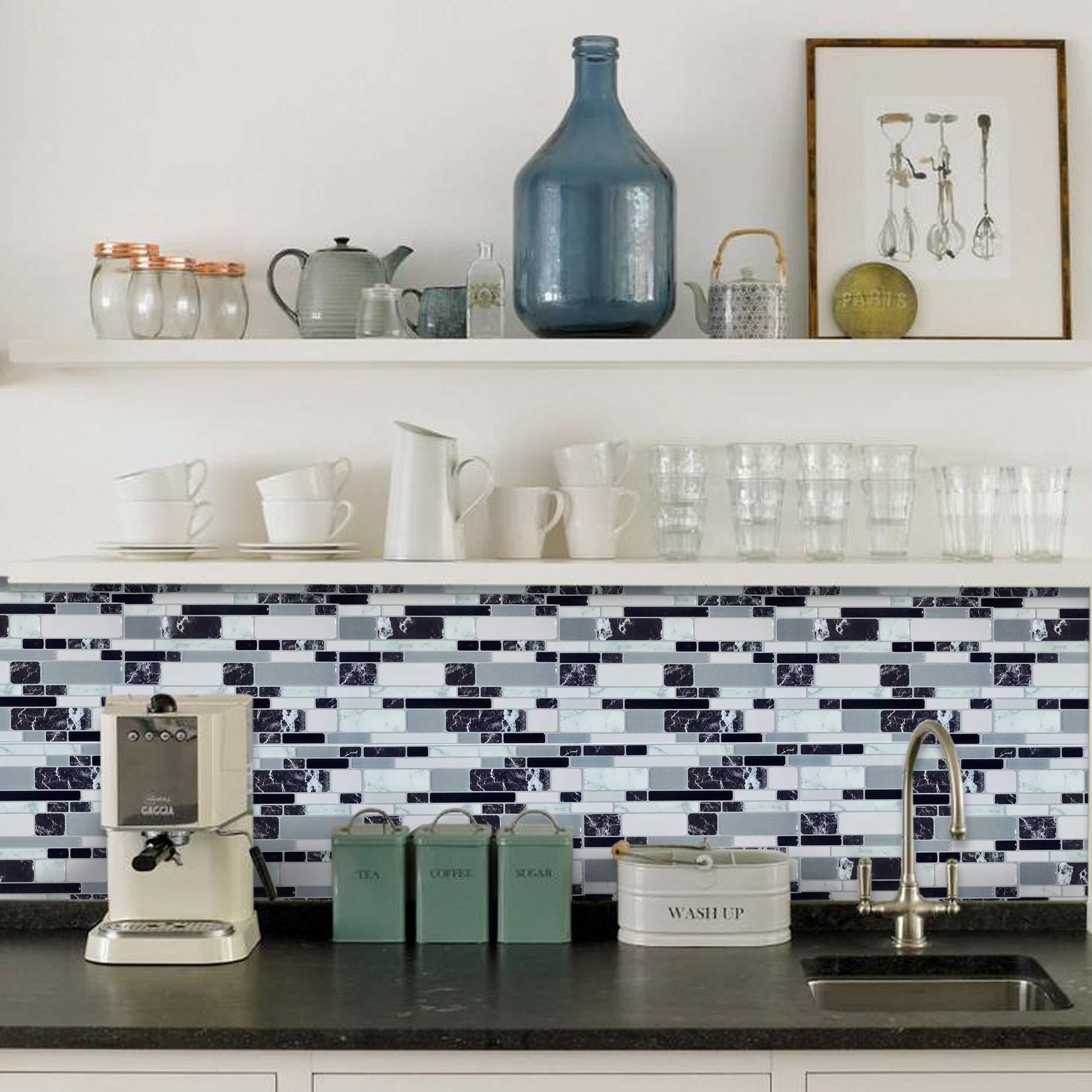 Amazon Com Peel And Stick Wall Tile For Kitchen Backsplash Waterproof Backsplash Sticker Gray Brick Self Adhesive Mosaic Backsplash For Bathroom Marble Design 10 X10 Gray White Tile 8 Pack Kitchen Dining