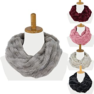 Infinity Scarf, Faux Fur Scarf for Women and Men, Super Soft, Stretchy and Lightweight Winter Scarf Shawl Neck Warmer,