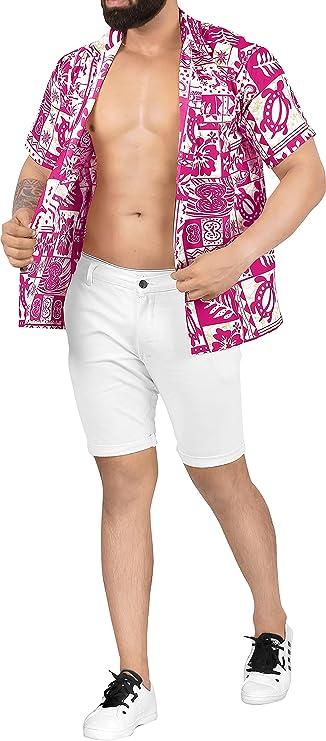 80s Men's Clothing   Shirts, Jeans, Jackets for Guys LA LEELA Mens Loose Casual Short Sleeve Aloha Hawaiian Shirt  AT vintagedancer.com