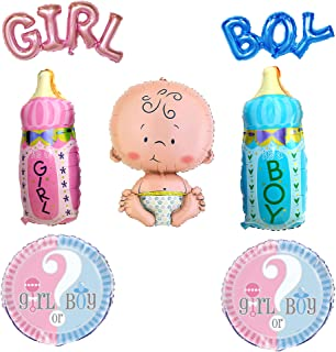 Gender Reveal Party Foil Balloons set - (7 pack) Baby, Boy, Girl, Blue Bottle, Pink Bottle, boy or Girl - by Par-T