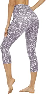 Steppe Women's High Waisted Yoga Pants Printed Capris Workout Leggings with Pockets