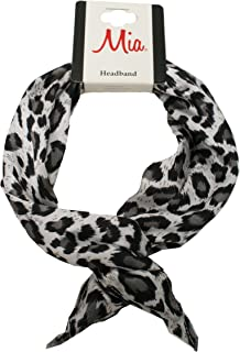 Mia Bend-a-roo Headband-A Fashionable Headwrap OR Scarf With A Hidden Wire That Bends Into Many Shapes And Styles-Wire Is Covered With Grey Leopard Printed Beautiful Silk Material(1 piece per package)