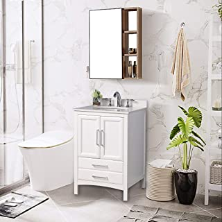 Vanity Art 24 inch Single Sink Bathroom Vanity with Compact 2 Door, 2 Drawer - Slim and Modern - White Cultured Marble Top Bathroom Cabinet (White)