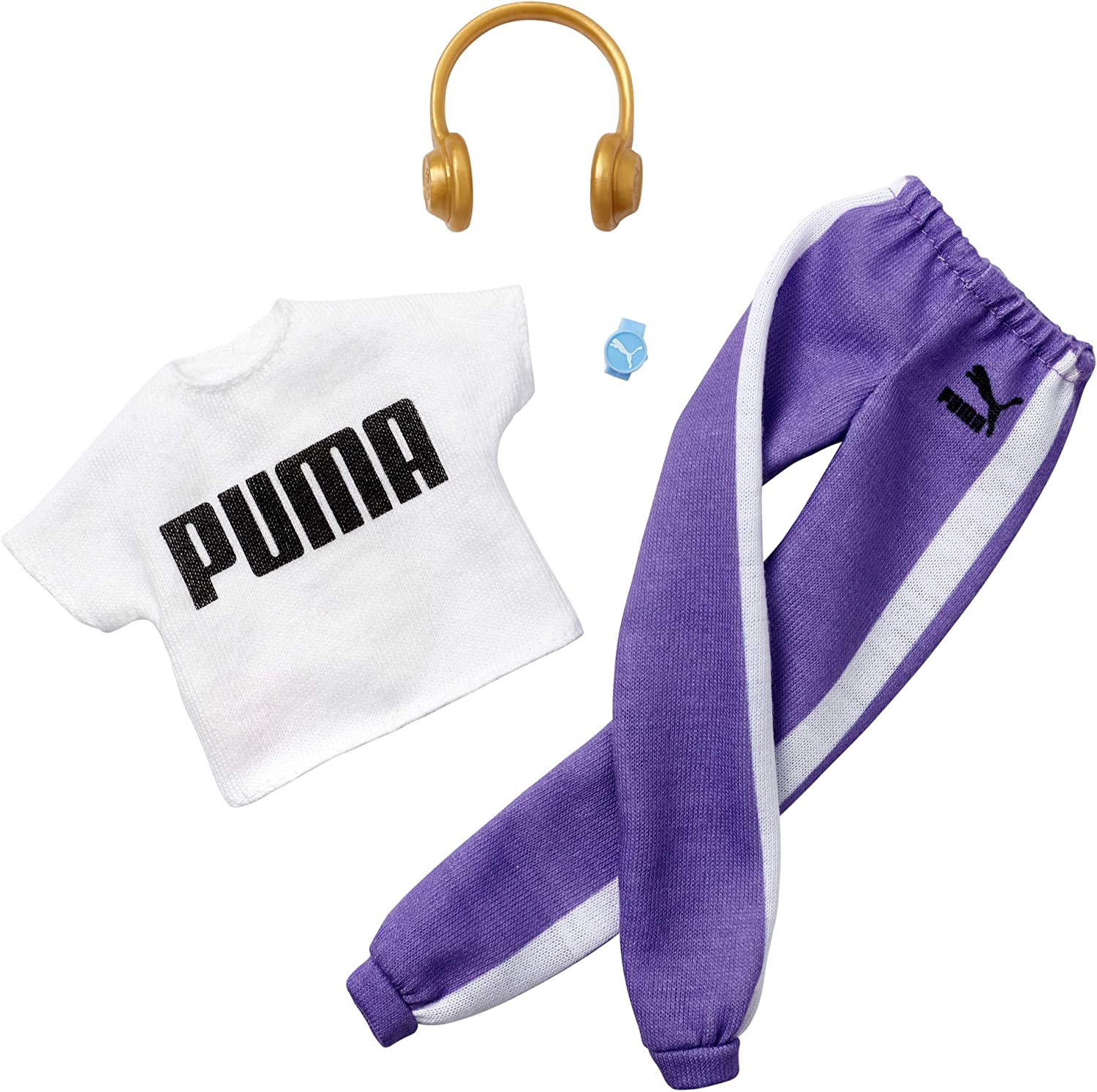 Barbie Clothes Puma Branded Outfit Doll, White Top and Purple Joggers with Headphones and Watch, Gift for 3 to 8 Year Olds