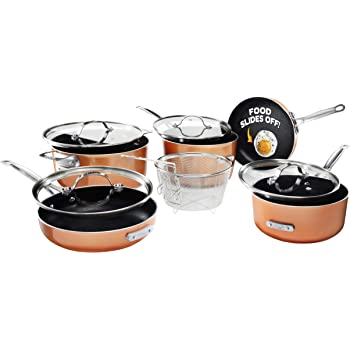 Gotham Steel Stackmaster Pots & Pans Set – Stackable 10 Piece Cookware Set Saves 30% Space, Ultra Nonstick Cast Texture Coating, Includes Fry Pans,, Saucepans, Stock Pots and More – Dishwasher Safe