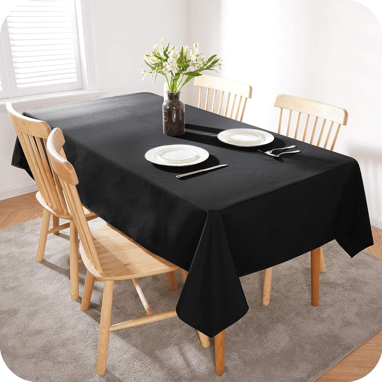 Amazon Brand - Umi Mantel contra la Mancha Impermeable Mesa Comedor 1 Pieza 130x280cm Negro