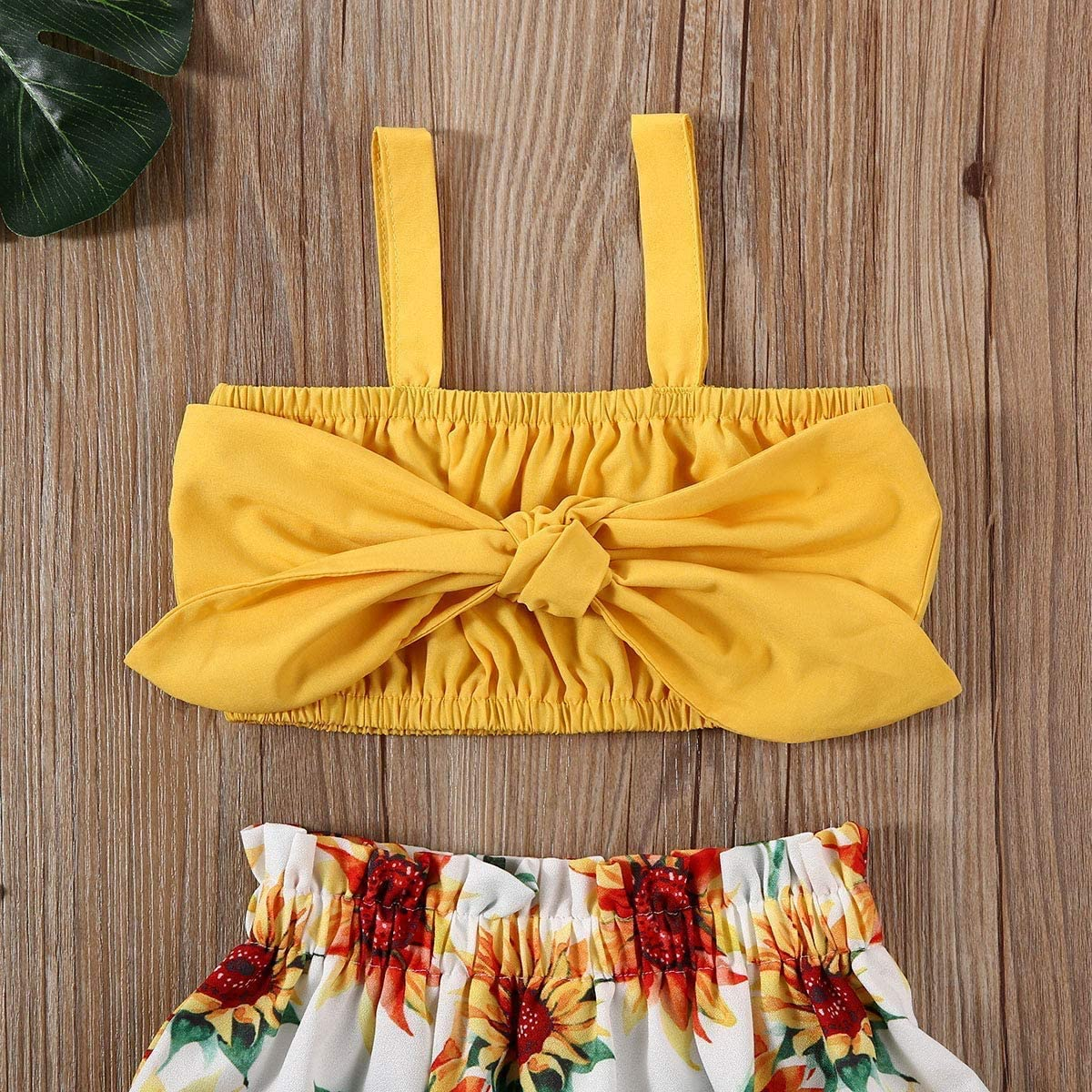 Toddler Baby Girl Floral Outfits Bowknot Strap Crop Top + Sunflower Shorts Skirts Two Piece Summer Clothes Set