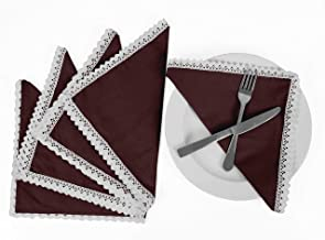 Vargottam Wine Home Décor Washable Dining Table Lace Napkins Set-Pack of 6
