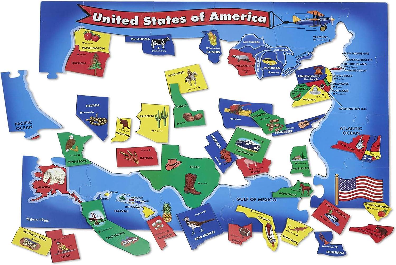 Melissa & Doug USA Map Floor Puzzle (51 pcs, 2 x 3 feet) : Melissa & Doug: Toys & Games