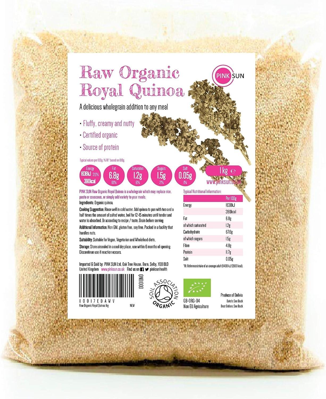 PINK SUN Quinoa Real Orgánica 1kg (o elige 2 kg 3 kg) Blanca Semillas de Quinua Bio a Granel Sin Gluten Organic 1000g