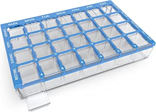 Ezy Dose (7-Day) Pill, Medicine, Vitamin Organizer Box | Weekly, 4 Times a Day, AM PM | Medium Compartments | Clear Lids