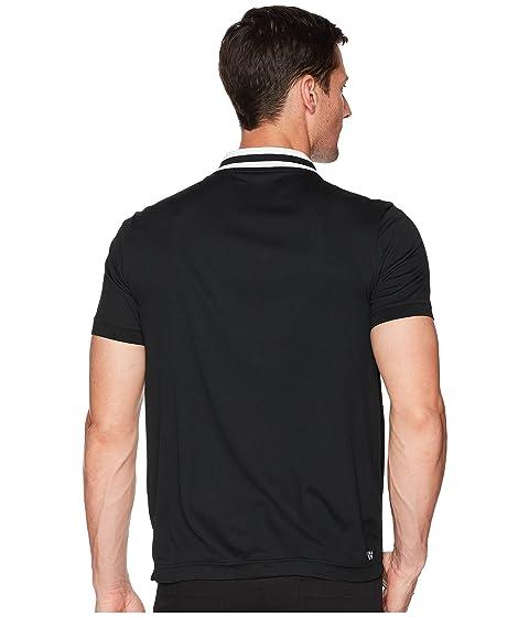 Lacoste Short Sleeve Pique Ultra Dry Fine Stripe w/ Jacquard Collar & Zip Front Placket Black/White Outlet 100% Original Perfect Sale Online Cheap Release Dates Cheap Footlocker Pictures AWyUcfVNN
