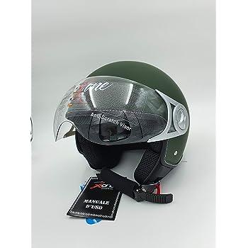 L Motocubo CASCO JET MOTO SCOOTER JEKO VERDE MILITARE UOMO//DONNA OMOLOGATO ECER-22-05