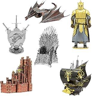 فانتزی ها Metal Earth ICONX 3D مجموعه ای از مجموعه های فلزی مدل Game of Thrones مجموعه ای از 6 - Red Keep - Silence - House Stark Sigil - Drogon - The Throne of Mountain - The Iron