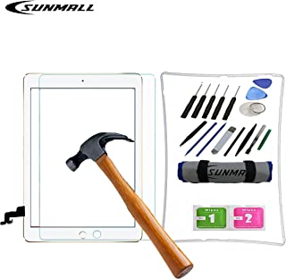 SUNMALL Screen Assembly Repair Replacement Kit for Ipad Model A1395 A1396 A1397, Digitizer Touch Screen Replacement Kit for Ipad 2 with Home Screen Protector/Frame Bezel+Tool kit/Adhesive Sticker