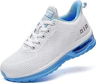 أحذية التنس Lamincoa Air للنساء خفيفة الوزن مريحة للركض برباط أحذية تنس أحذية طريق كاجوال في الهواء الطلق أبيض-أزرق 6