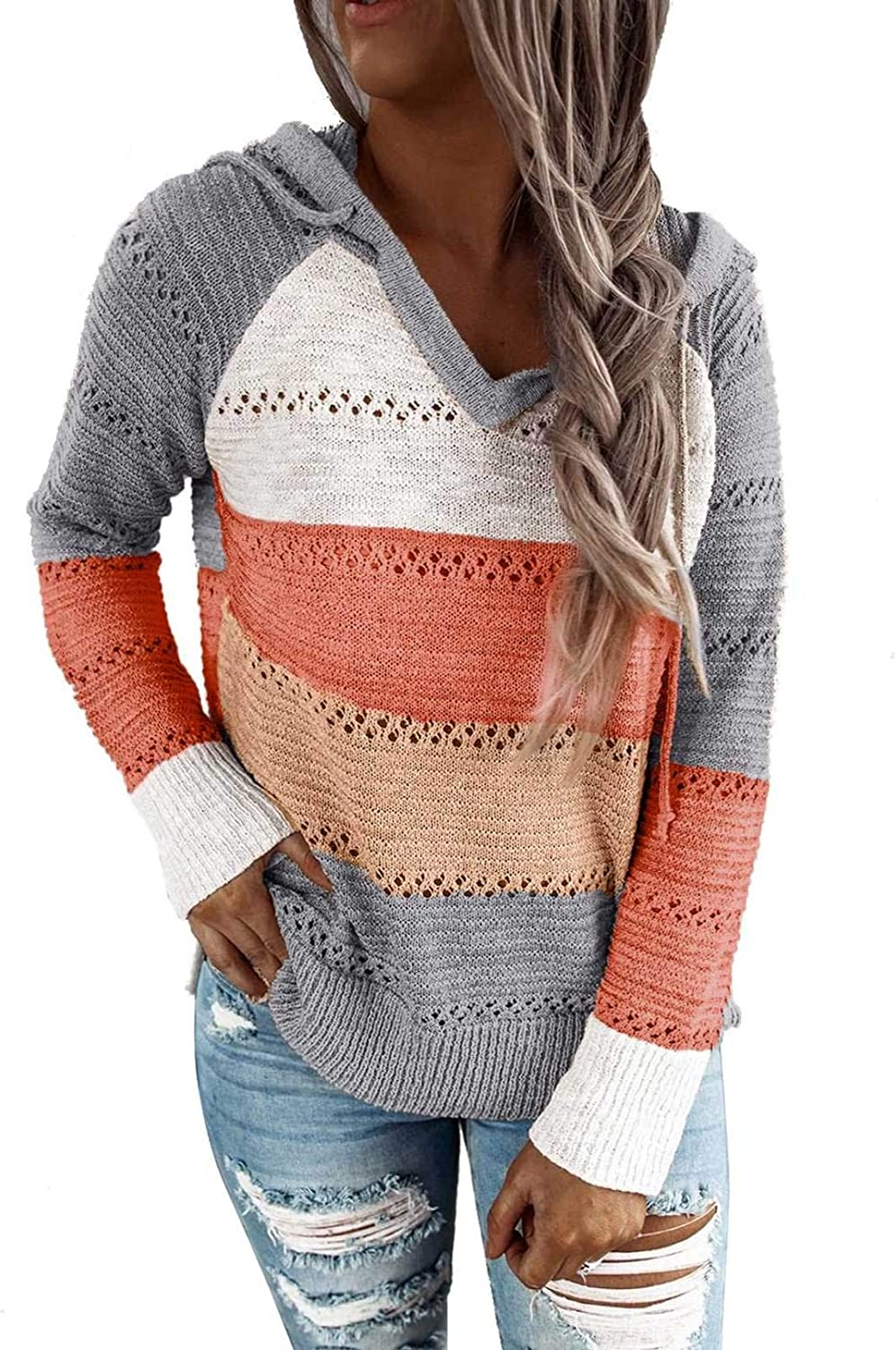 Actloe Womens Color Block Hoodie Sweater Hooded Sweatshirts for Women Lightweight Knit Long Sleeve V Neck Tops
