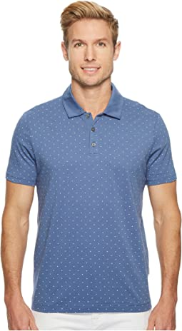 Micro Print Pima Cotton Polo Shirt