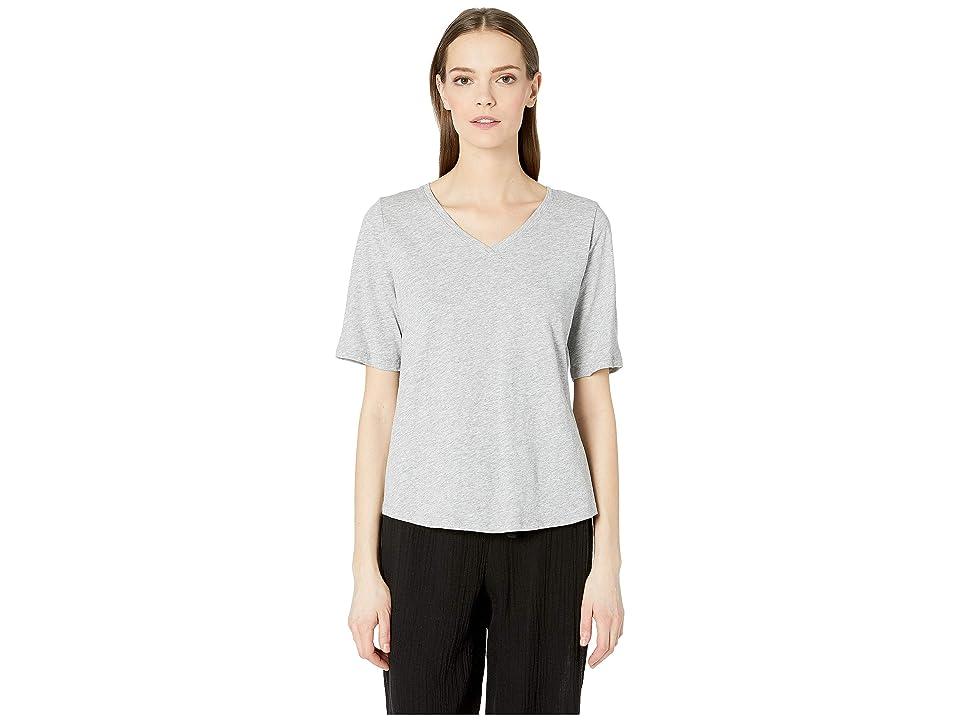 Eileen Fisher V-Neck Short Sleeve Tee (Dark Pearl) Women