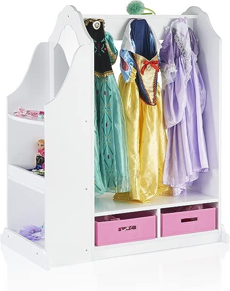 Guidecraft Dress Up Vanity White Dresser Armoire With Storage Bins And Mirror For Kids Toddlers Playroom Organizer Children Furniture