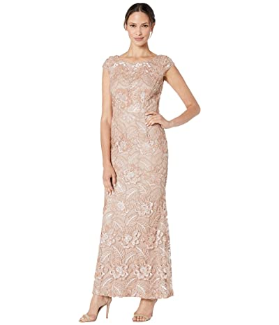 Alex Evenings Long Embroidered Dress with Sequin Detail (Rose Gold) Women