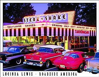 Desperate Enterprises Lucinda Lewis - Roadside America - Steak n Shake Tin Sign, 16