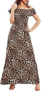 Toocool - Vestito Donna Lungo Leopardato Abito Animalier Spalle Nude Leggero Q143
