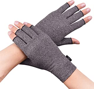Banillue Compression Arthritis Gloves, Fingerless Hand Gloves for Rheumatoid & Osteoarthritis - Joint Pain and Carpel Tunnel Relief-Men & Women- Medium