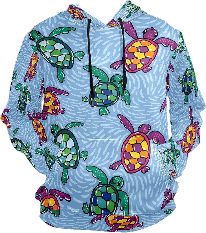 Men's Sport Hoodie Folk Turtle Cartoon Blue Sea Wave Big and Tall Hoodies for Men Women Oversized Hooded Sweatshirt Hip Hop Pullover Hoodie Midweight Hood for Boys Girls