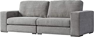 Acanva Luxury Classic Modern Corduroy Large Living Room Sofa, 4-Seater Couch, Light grey