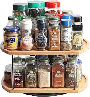JackCubeDesign 360 Rotating Lazy Susan Bamboo Spice Jar Rack Kitchen Countertop Display Organizer Spice Bottle Worktop Holder Stand Shelf with Stunning 2 Tier(14 x 11.73 x 7.17 inches) – :MK383A