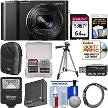 Panasonic Lumix DMC-ZS100 4K Wi-Fi Digital Camera (Black) with 64GB Card + Case + Flash + Battery + Tripod + Kit
