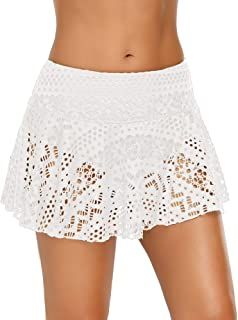 ACKKIA Women's Lace Crochet Skirted Bikini Bottom Swimsuit Short Skort Swimdress