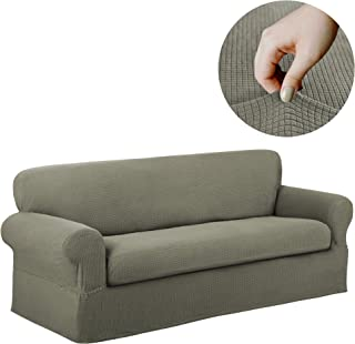Maytex Reeves Stretch 2 Piece Sofa Furniture Cover Slipcover, Dark Sage Green