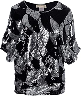 Womens Loose Fit Sequin Dolman Sleeve Evening Blouse Top