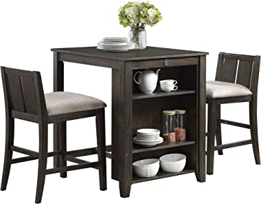 Lexicon Vague 3-Piece Pack Counter Height Set, Brown Cherry