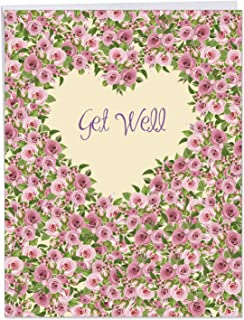 BIG Get Well Soon Wishes Greeting Card w/Envelope - Heartfelt Thanks w/Roses and Flowers - Jumbo Feel Better Cards for Friend, Coworker or Loved One Gift 8.5 x 11 Inch - J6578HGWG