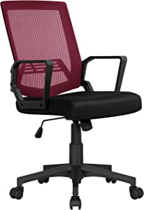 YAHEETECH Ergonomic Office Chair Desk Computer Mesh Executive Task Rolling Gaming Swivel Modern Adjustable with Mid Back Lumbar Support Armrest for Home Women Men, Wine Red