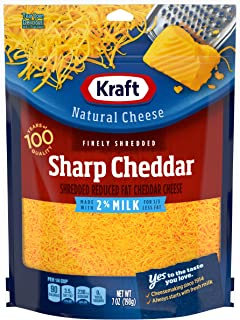Kraft Natural Shredded Sharp Cheddar Cheese with 2% Milk (7 oz Bag)