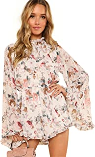 Women's Floral Printed Ruffle Bell Sleeve Loose Fit...