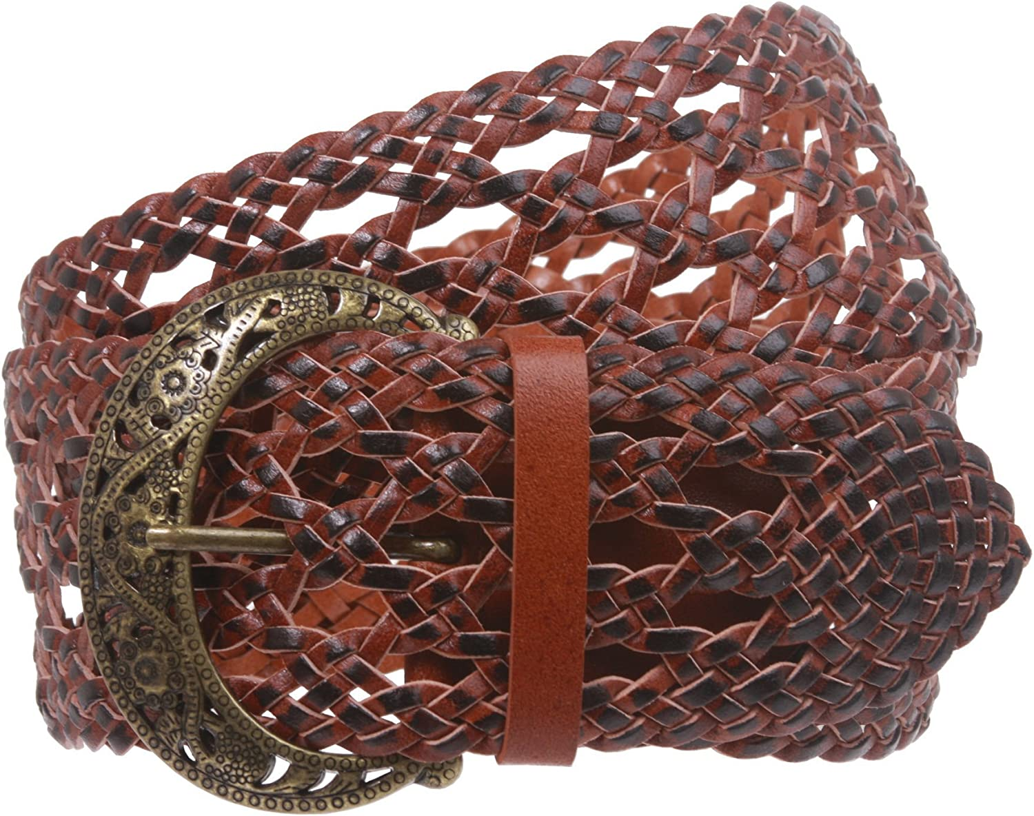 2 1 2  Wide Perforated Braided Woven Leather Belt